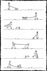 Drawing of a little boy walking seven different dogs, black and white outline illustration