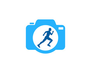Camera Run Icon Logo Design Element