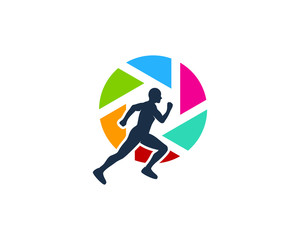 Run Photo Icon Logo Design Element
