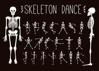 Dancing skeletons set. Stock line vector illustration
