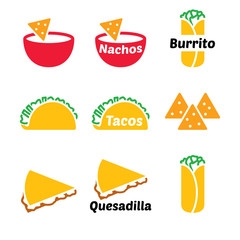 Mexican food vector icon set - tacos, nachos, burrito, quesadilla