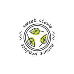 Vector set of stevia labels, logos, badges, icons. Natural sweetener design element. Organic stevia icon isolated.