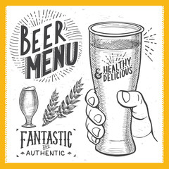 Beer poster for restaurant, drink template.