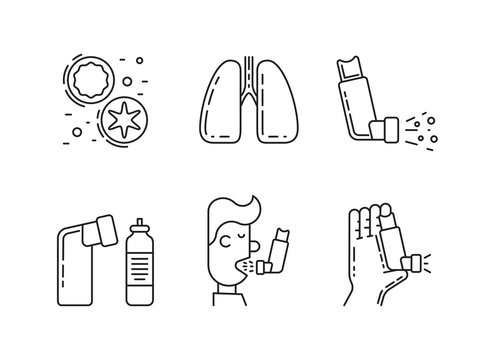 Vector icons on the theme of asthma isolated on white background in outline style