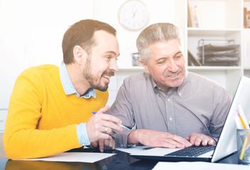 Men look interesting in computer