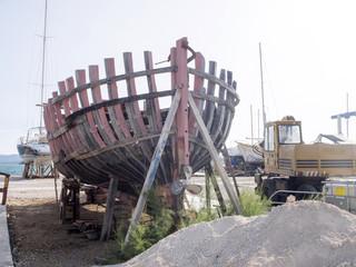 repair of an old ship in dry docks, Croatia