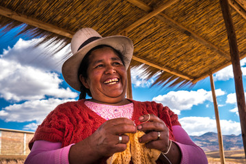 Peruvian woman with big hat, Peru