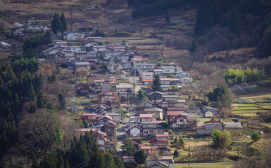Aerial view of onsen village at autumn