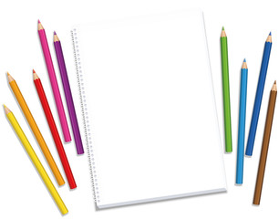 Sketchpad with colored crayons spaced around the blank paper waiting for the artists inspiration and creative ideas - isolated vector illustration on white background.