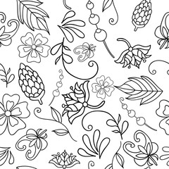 Vector illustration of seamless pattern with abstract black-white flowers. Coloring page for adult. Pattern can be used for wallpaper, pattern fills, web page background, surface textures