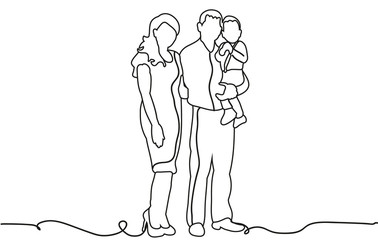 vector, happy family sketch, outlines, lines