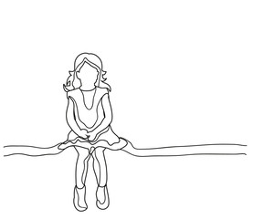little girl sketch, outlines sitting