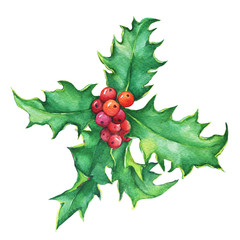 Holly (ilex). Holiday, traditional Christmas decoration for greeting card, invitation, gifts, textile design. Noel, New Year. Watercolor hand drawn painting illustration isolated on white background.