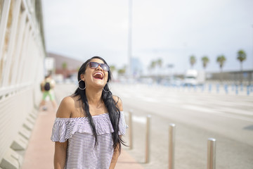 Girl walking around the city