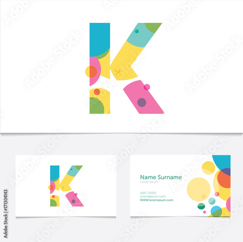 creative letter k design vector template on the business card