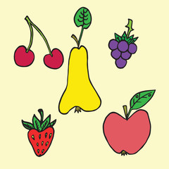 Cherry, pear, strawberry, blackberry, apple, fruits and berries collection, hand drawn doodle, sketch in naïve, pop art style, color vector illustration isolated on yellow