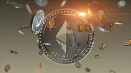 Virtual cryptocurrency Ethereum falling coins close up on blurred background. Finance and banking concept.