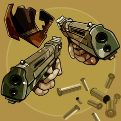cartoon cowboy hat and pistols with cartridges