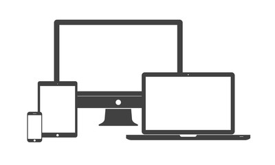Digital device icons - smartphone, tablet, laptop and desktop computer. Simple flat design isolated on white background, vector