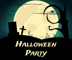 Halloween Party background with creepy trees and moon