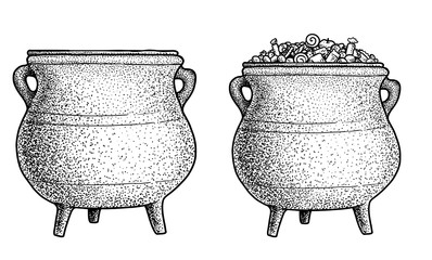Cauldron illustration, drawing, engraving, ink, line art, vector
