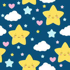 Children`s seamless pattern with cute cartoon stars. For kid textile and other print. Vector.