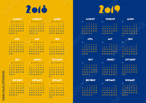 new year 2018 and 2019 vector calendar modern simple vivid color yellow and navy blue design