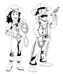 Cowboy and Cowgirl - Vector Character Illustration
