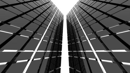 Futuristic black architecture background. 3D Rendering.