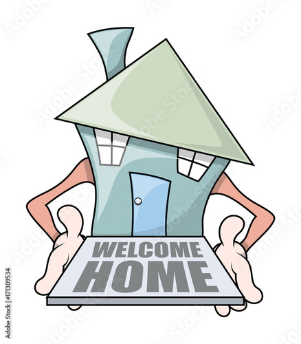 Cartoon House with Welcome Mat