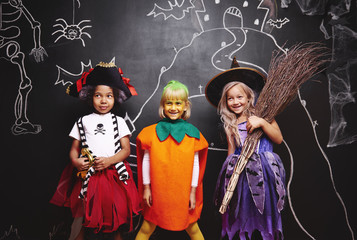 Group of kids at Halloween Wall mural