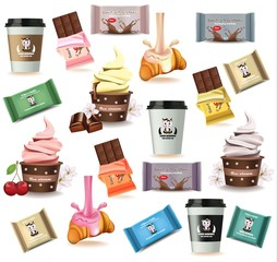 Desserts and coffee delicious pattern Vector illustration. Croissant, chocolate, ice cream