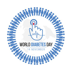 World Diabetes Day Awareness with blue Human icon circle and  Blood drop on hand for blood sugar level and  Wave pulse sign on map world vector design