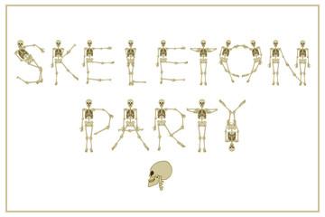 Lettering skeleton party with dancing skeletons font, set of let