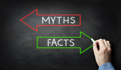 Businessman drawing  Myths or Facts on blackboard