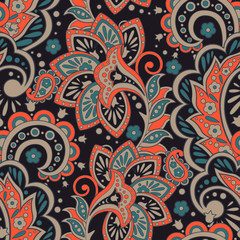Damask Floral pattern. Seamless vector background.