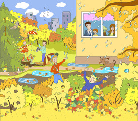 Child illustration. Autumn picture in the garden, in the country, on the nature. A rainy day, puddles, leaf fall, yellow, orange trees. Children play in leaves, walk with an umbrella, take pictures