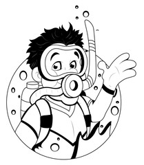 Cartoon Boy with scuba diver Mask Vector