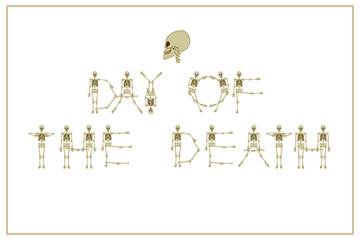 Lettering Day of the Death with dancing skeletons font, set of letters. Stock vector illustration