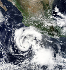 Satellite view of Hurricane Hilary from space. Elements of this image furnished by NASA.