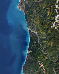 Satellite view of Redwood National Park from space. Elements of this image furnished by NASA.