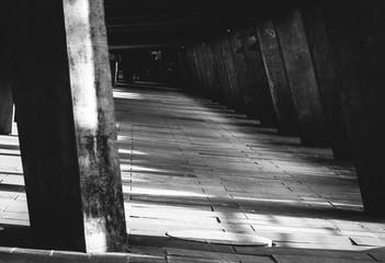 Sport arena. Tunnel, shadows, path