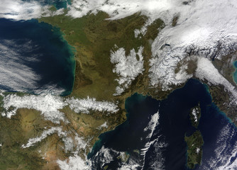 Satellite view of the snow in the mountains in southwestern Europe. Elements of this image furnished by NASA.