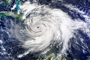 Satellite view. Hurricane Matthew Hits Haiti. Elements of this image furnished by NASA.