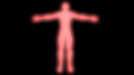 Glowing man with raised arms. Internal smoke effect in body silhouette. 3d rendering