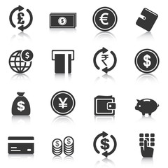 Set of money icons, business, finance. Vector illustration
