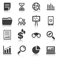 Set of data analysis icons, charts, graphs. Vector illustration