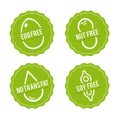 Wall Mural - Set of Allergen free Badges. Egg free, Nut free, Soy free, No trans fat. Vector hand drawn Signs. Can be used for packaging Design.