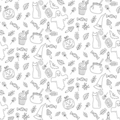 Halloween doodle icons seamless vector pattern