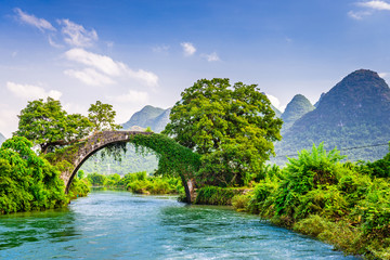Yangshuo, China at the Dragon Bridge spanning the Li River.